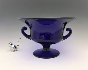 Tiffin 15179 Cobalt Blue Console Bowl With Scrolled Handles