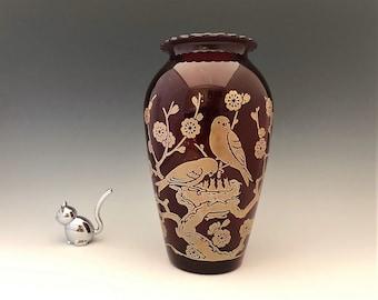 "Hocking Royal Ruby Red #R53 ""Hoover"" Vase - Hard to Find Bird Decoration"