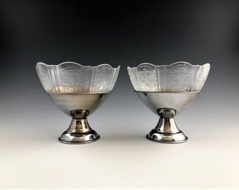 Set of FOUR MacBeth-Evans American Sweetheart Clear - Sherbet Cups With Metal Holders - Depression Era Glass