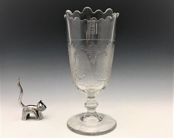 EAPG Celery Vase - Sprig On Snow - Unknown Maker - Early American Pattern Glass - c. 1880's