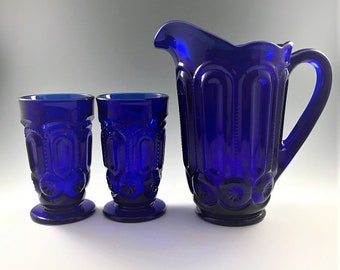 Weishar Moon and Star Cobalt Blue Water Set - Full Size Pitcher and Six Footed Tumblers - Hard to Find