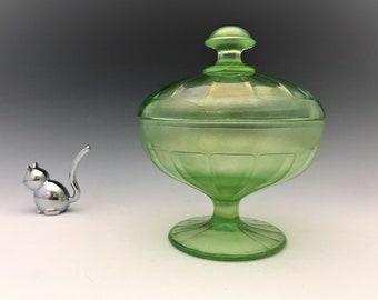 Vintage Fenton #643 Covered Bonbon - Florentine Green Stretch - Uranium Glass - Glowing Glass Candy Jar