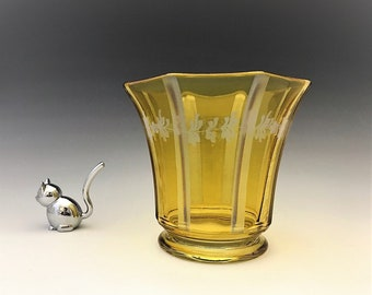 Stunning Topaz Elegant Glass Vase - Vertical Cutting - Duncan Miller or Westmoreland Glass - Yellow Glass Vase