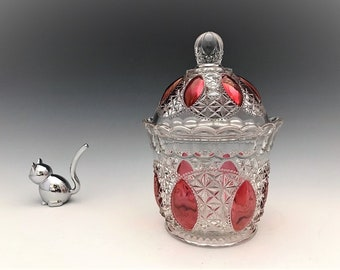 Imperial Glass Beaded Jewels Cranberry Stained Covered Sugar Bowl