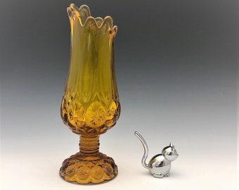 Kanawha Amber Glass Moon and Stars Vase - Hard to Find