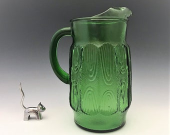 Vintage Anchor Hocking Green Wood Grain Glass Pitcher With Ice Lip