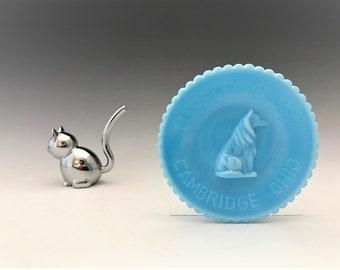 Vintage Mosser Blue Milk Glass Dog Cup Plate - Hard to Find