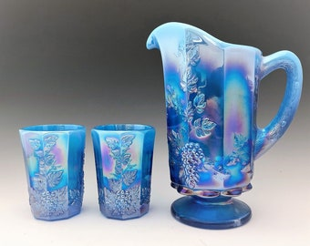 Westmoreland Paneled Grape Water Set  - Electric Blue Opalescent Carnival Glass - Made for Levay Glass - Pitcher and Five Tumblers