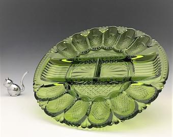 L.E. Smith Green Glass Egg Plate - Deviled Egg Serving Plate - Retro Green Glass