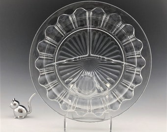Hocking Glass - Set of Two Grill Plates - Colonial Pattern - Knife and Fork Pattern - Divided Plates - Depression Glass