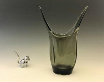 Viking 1189 Split Vase - Charcoal - Elmer Miller Art Glass Vase - Mid Century Glass Vase