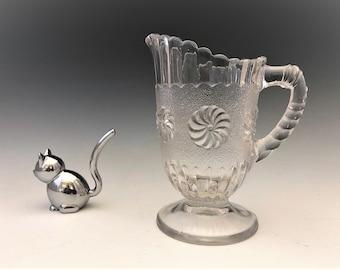 EAPG Creamer - U.S. Glass Company - No. 15030 - AKA Roman Rosette - Early American Pattern Glass Cream Pitcher - Circa 1894