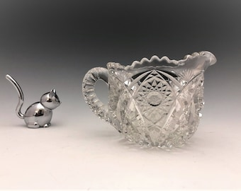 EAPG Creamer - McKee and Brothers - Fentec Pattern - Early American Pattern Glass - c. 1907