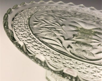EAPG Cake Stand - Indiana Glass Company - No. 123 (OMN) - AKA Clematis or Rose Point Band - Circa 1913 - Early American Pattern Glass