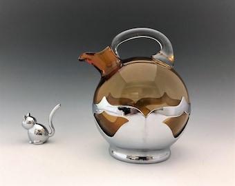 Cambridge Amber #3400 Ball Decanter With Farberware Frame - Vintage Elegant Glass