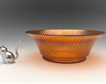 Imperial Glass Smooth Rays - Large Carnival Glass Console Bowl - Iridescent Bowl - Marigold Bowl - Hard to Find