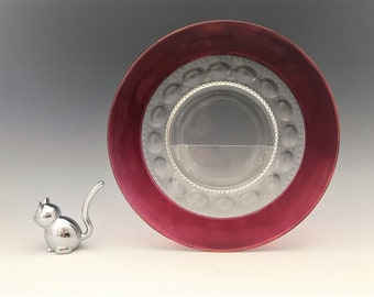 Set of 4 Tiffin Kings Crown Ruby Red Stained Luncheon Plates