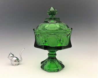 Stunning Fostoria Coin Glass Emerald Green Wedding Box With Lid - Hard to Find