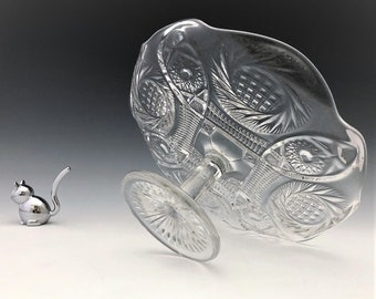 EAPG Cake Stand - McKee Glass - Sunburst Pattern - AKA Aztec Sunburst - Circa 1909 - Early American Pattern Glass
