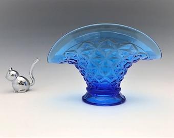 Imperial Glass Vase - Mt. Vernon Pattern - Washington Pattern - No. 699 - Vintage Blue Glass