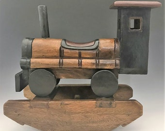 Wooden Train Rocker - Child's Wooden Rocking Train - Hand-Carved and Painted