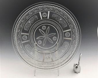 EAPG Beverage Tray/Platter - Bryce Brothers Glass - Wreath Pattern (OMN) - AKA Willow Oak - Early American Pattern Glass - Circa 1880s