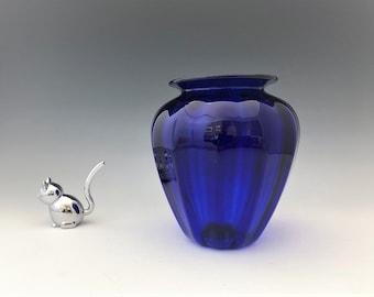 Peter Vizzusi Cobalt Blue Vase - Signed - Magic Sands Studios - Aptos California - c. 2000