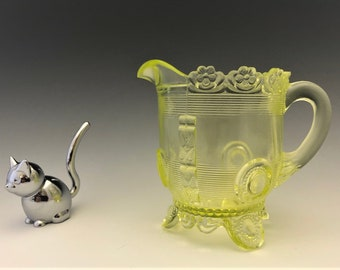 EAPG Canary Creamer - Dewey Pattern - Indiana Tumbler and Goblet- Greentown Glass - Early American Pattern Glass - 1898