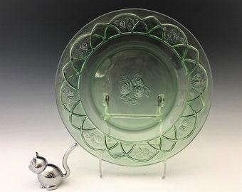 Federal Glass Rosemary Pattern - Uranium Glass Dinner Plate - Green Depression Glass - Glowing Glass - c. 1935-37