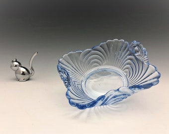 Cambridge Glass Caprice Pattern - Moonlight Blue Handled Bonbon - 5 Inch Bowl - Elegant Depression Era Glass