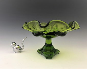 Viking Glass Green Epic Drape #7107 Footed Bowl