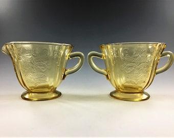 Federal Glass Breakfast Set - Madrid Pattern - Amber Depression Glass - Creamer and Open Sugar Bowl
