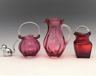 Pilgrim Glass Collection - Cranberry Glass Basket and Pitcher - Vintage Hand Blown Glass
