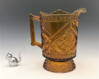 Amber EAPG Pitcher - Richards and Hartley No. 99 Mikado Pattern - Daisy and Button With Crossbars - BONUS TUMBLER - c. 1886