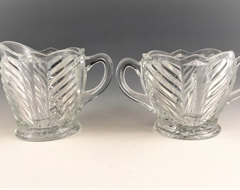 Vintage Indiana Glass Breakfast Set - Art Deco Style - Pattern #303 - Geometric Swirl Design - Creamer and Open Sugar Bowl