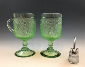 Indiana Glass Chantilly Green Goblets - Tiara Exclusives - Early American Pattern - Irish Coffee - Handled Glass