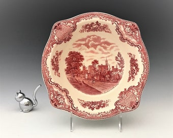 Johnson Brothers Red Transferware Bowl - Old Britain Castles Series - Ruthin Castle - Early Mark