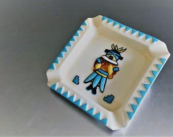 Vintage Turquoise Trimmed Ceramic Ashtray - Native American Art - Navajo - Pueblo - Southwestern