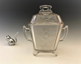 EAPG Covered Sugar Bowl - Co-Operative Flint Glass Company - Floral Pattern - AKA Flower Pot - Early American Pattern Glass - Circa 1880's