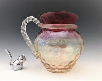 Victorian Era Blown Glass Pitcher - Twisted Rope Handle and Decoration - Dot Optic Motif - Rubina Glass