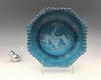 Indiana Glass Bicentennial Blue Octagonal Eagle Plate