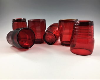 Set of 6 Paden City Penny Line (#991) Ruby 2 1/2 Ounce Wine Tumblers - Hard to Find