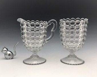 Richards and Hartley - Thousand Eyes Pattern - EAPG Spooner and Creamer - Early American Pattern Glass - 1887