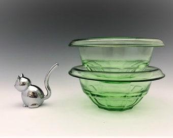 Set of Two Small Green Hazel Atlas Mixing Bowls - Rest Well Bowls - G1573 - Depression Glass Bowls -  Uranium Glass - Glowing Green Glass
