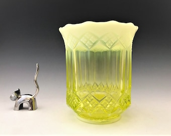 Mosser Vaseline Glass Celery Vase - Three In One Pattern - Imperial Glass Reproduction - Glowing Opalescent Glass