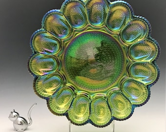 Indiana Glass Hobnail Deviled Egg Dish and Relish Plate - Hard to Find Iridescent Green