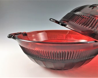 Set of 2 Ruby Red Bowls - Hocking Coronation Royal Ruby - Depression Era Glass - 8 Inch Nappy - Handled Bowls
