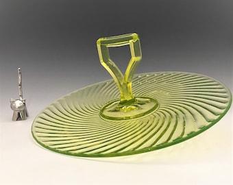 Imperial Glass Twisted Optic No. 313 Center Handled Server - Vaseline Glass Sandwich Tray - Depression Era Glass