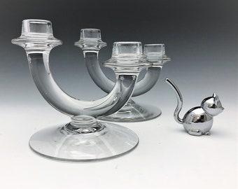 Set of 2 Fostoria No. 6023 Sonata Duo Candlesticks (c. 1940-63) - Elegant Glass Candlestick Holders
