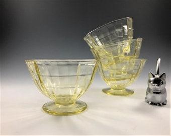 Set of 4 Depression Glass Sherbets - Hocking Block Optic Pattern - Topaz Depression Glass - Hard to Find - Glowing Glass - 1929-33